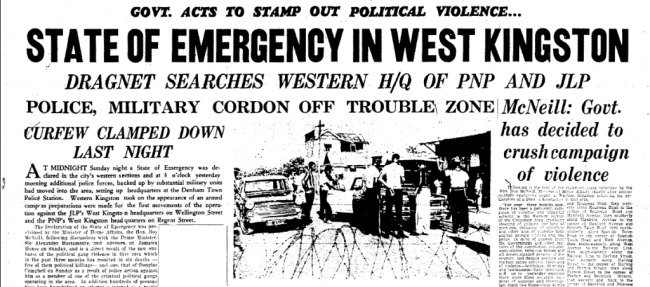 The headline on the front page of The Daily Gleaner, Tuesday, October 4, 1966, concerning the declaration of the state of emergency.