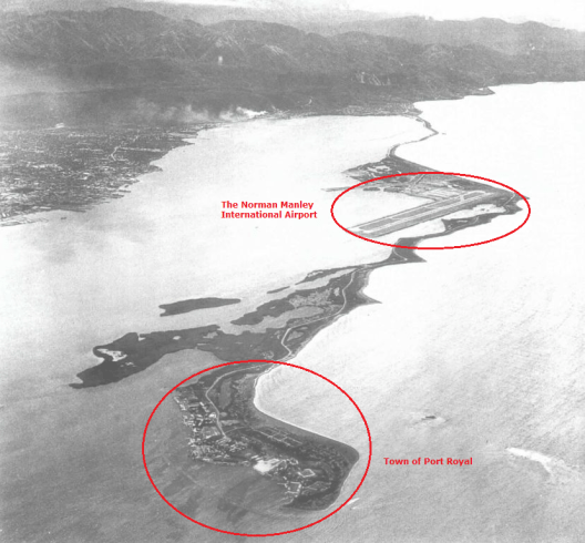 Aerial Photograph of the Palisadoes Spit (Source: Buisseret pg. 14, 1996)