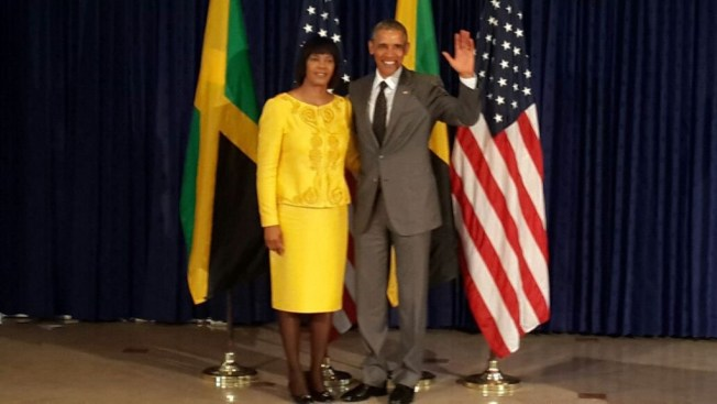 (l-r) The Prime Minister of Jamaica, The Most Honourable Portia Simpson-Miller, and the President of the United States, Barack Obama (Photo: Jamaica Information Service)