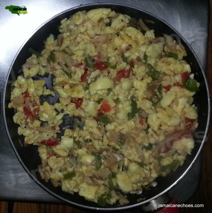 Figure 1: Ackee and saltfish, hot off the stove! (Yum!)