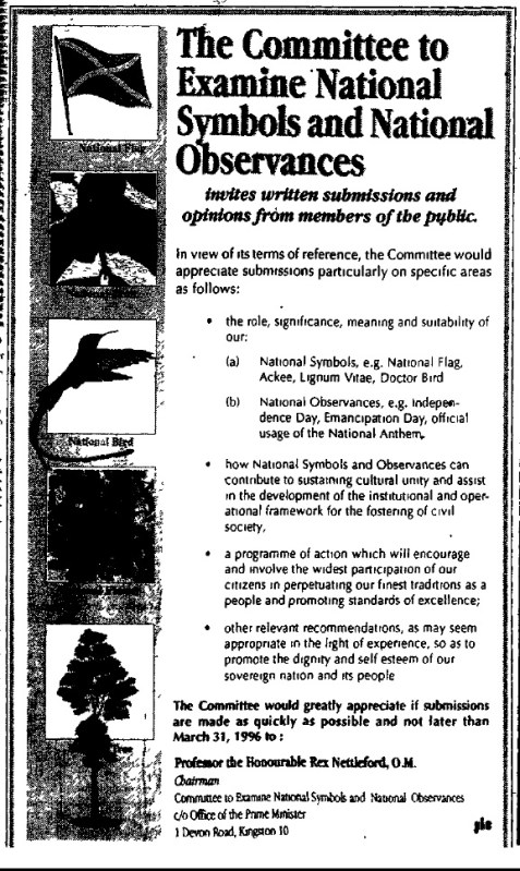 Figure 3: An advertisement by the Committee to Examine National Symbols and National Observances published in The Gleaner, Thursday, February 29, 1996, pg. 11A