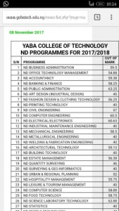 YABATECH 2017/2018 Departmental Cut Off Marks and Points On Official JAMB Admission Screening And Post Utme