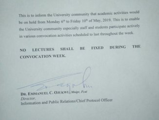 UNIZIK Declares Next Week Lecture Free Ahead of Convocation Ceremony