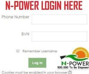 Npower Portal Registration Form 2020/2021- www.npower.gov.ng login
