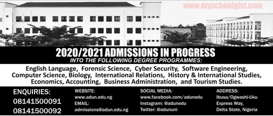 Admiralty University of Nigeria (ADUN) Post UTME Screening Form 2020:2021
