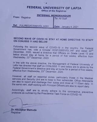 FULAFIA stay-at-home directive to staff