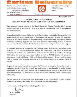 Caritas University notice on resumption of academic activities for 2020/2021 session