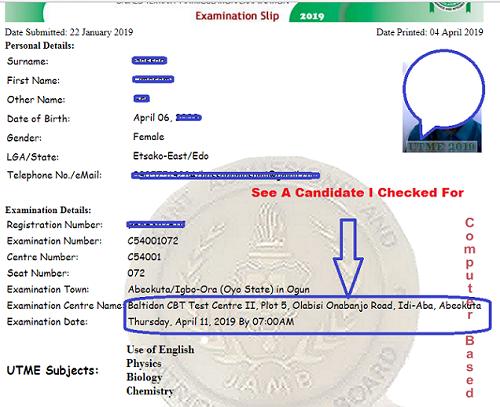 Image result for JAMB exam Slip Reprint Portal
