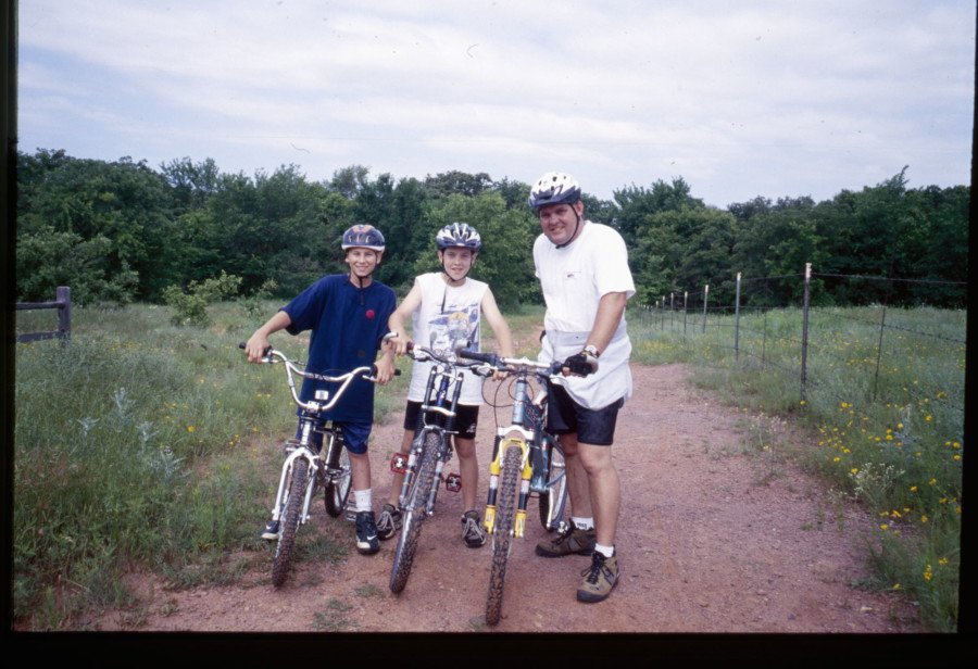 After our motorcycles were stolen we couldn't afford more powered bikes for the family, so we got bicycles instead. We still ride bicycles on a regular basis. Here I am with my nephew Taylor Blankenship (L), my son Adam Pratt (M) and myself at Arcadia Lake in Edmond.
