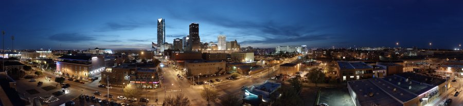 Downtown Oklahoma City skyline at sunset.