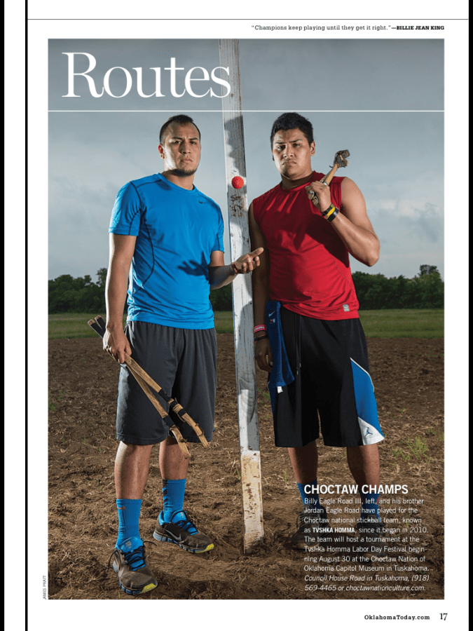 Choctaw Indian Stickball portrait that ran as an editorial photography assignment in Oklahoma Today Magazine.