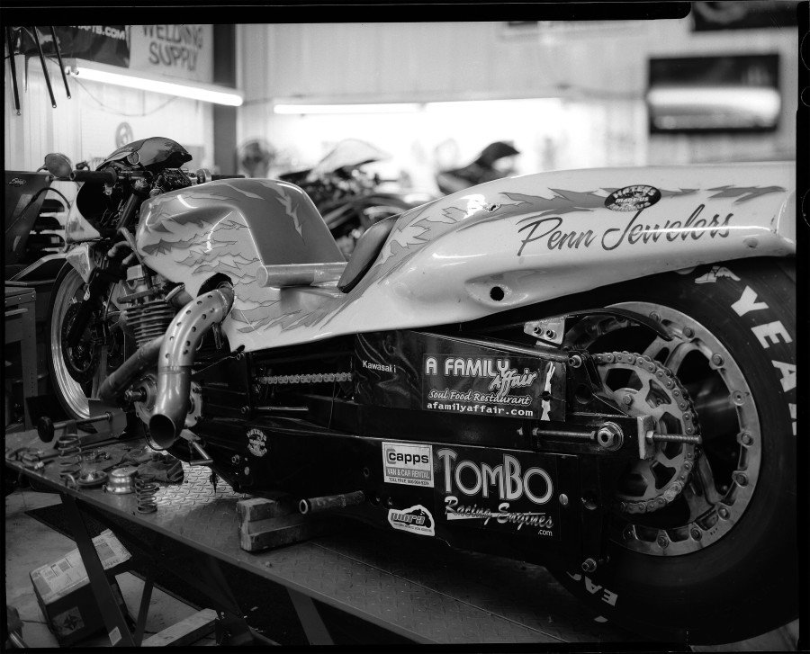 Glen Nickleberry's 218 mph Funnybike  drag racing motorcycle built by Tombo Racing.