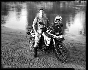 Scott Limke on a BMW F800GS motorcycle at Bill Dragoo's adventure rider training course in Lexington, Oklahoma.