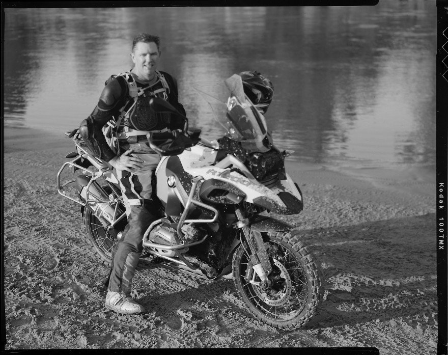 Perry Fields on his BMW R1200GS Adventure motorcycle while at Bill Dragoo's Adventure Rider training course in Lexington, Oklahoma