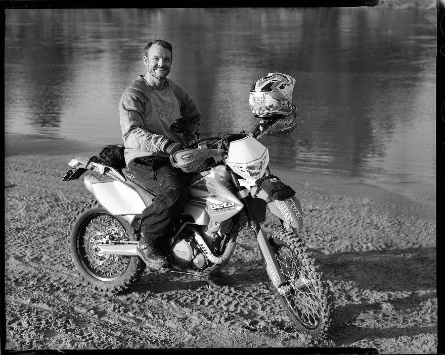Jake Dragoo atop his father's Beta 525 motorcycle.