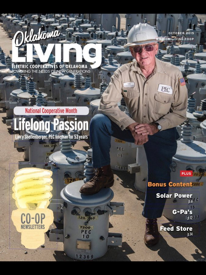 I shot this cover photo of PEC electrical lineman Larry Shellenberger at PEC's headquarters in Ada.