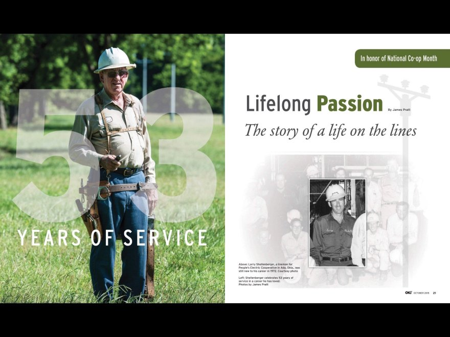 My portrait of Larry is featured on the left side of this opening spread. I wrote the story as well as shot the photos.