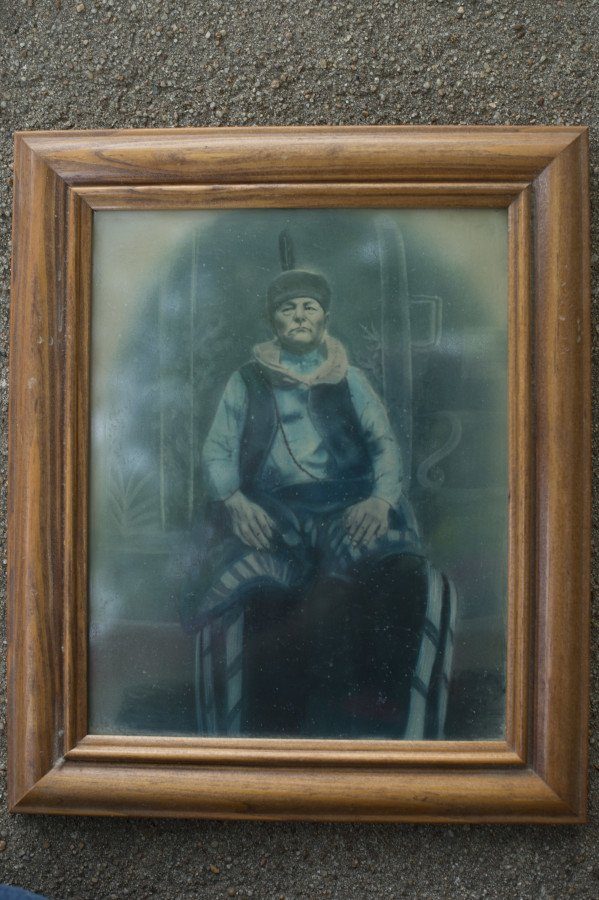 Painting of Eddy Red Eagle's great grandfather, who first settled on their land in Osage County before the allotments.