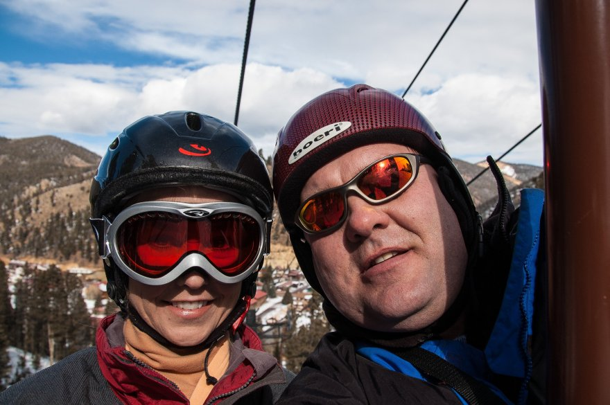 We both started wearing helmets many, many years ago right after Sonny Bono died while skiing. It was hard to ask our kids to wear helmets if we didn't. Now I can't imagine skiing without a helmet.
