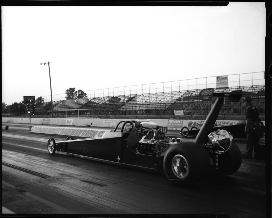 Alcohol rail dragster at Thunder Valley Raceway photographed with Toyo VX-125 4x5 film camera.