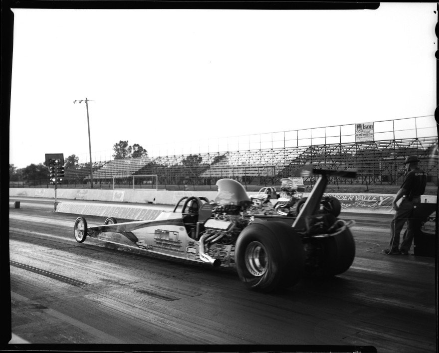 I finally got my timing down on this frame as this alcohol rail dragster launches from the starting line at Thunder Valley Raceway in Noble, Oklahoma. Shot with my Toyo VX-125 4x5 film camera on a sheet of Ilford HP5 sheet film.