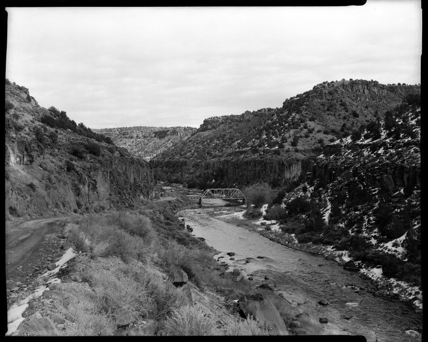 John Dunn Bridge over the Rio Grande River in winter, just west of Arroyo Hondo, NM. Shot with my Toyo VX-125 4x5 film camera on Ilford HP5 film.