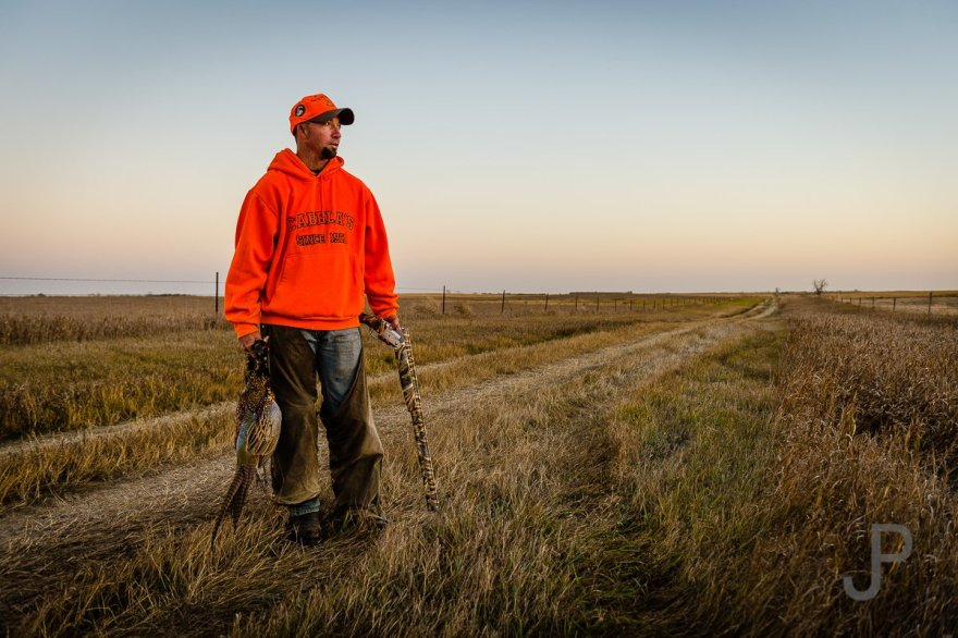 Eric Orsborn finally shoots a nice pheasant right before sunset on our first day.