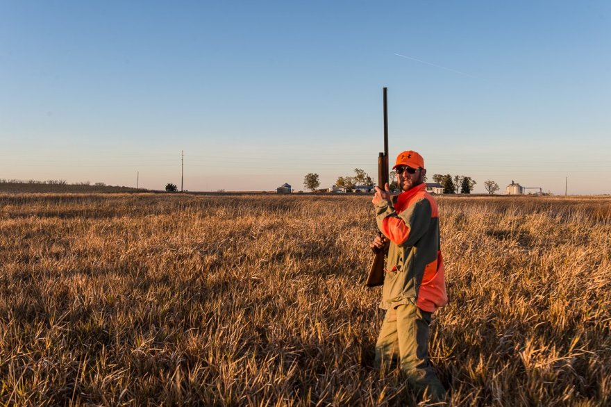 As the sun sinks close to the horizon we move out ready to hunt. Vance Felder has his shotgun ready as the action heats up.