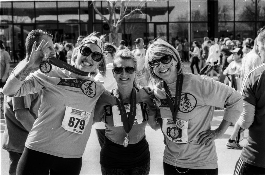 Emily, a friend, and Kay after the race.