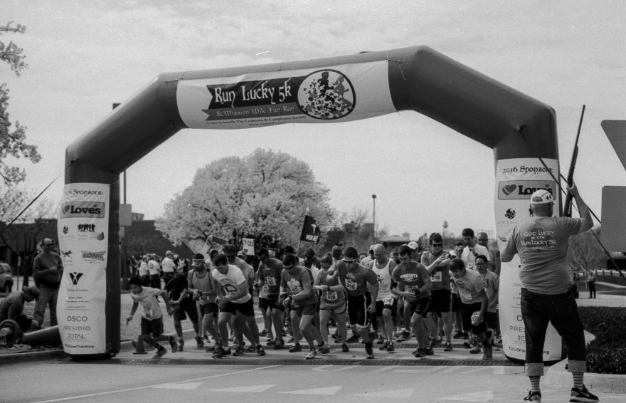 Runners at the start of the OKC Lucky Run foot race.