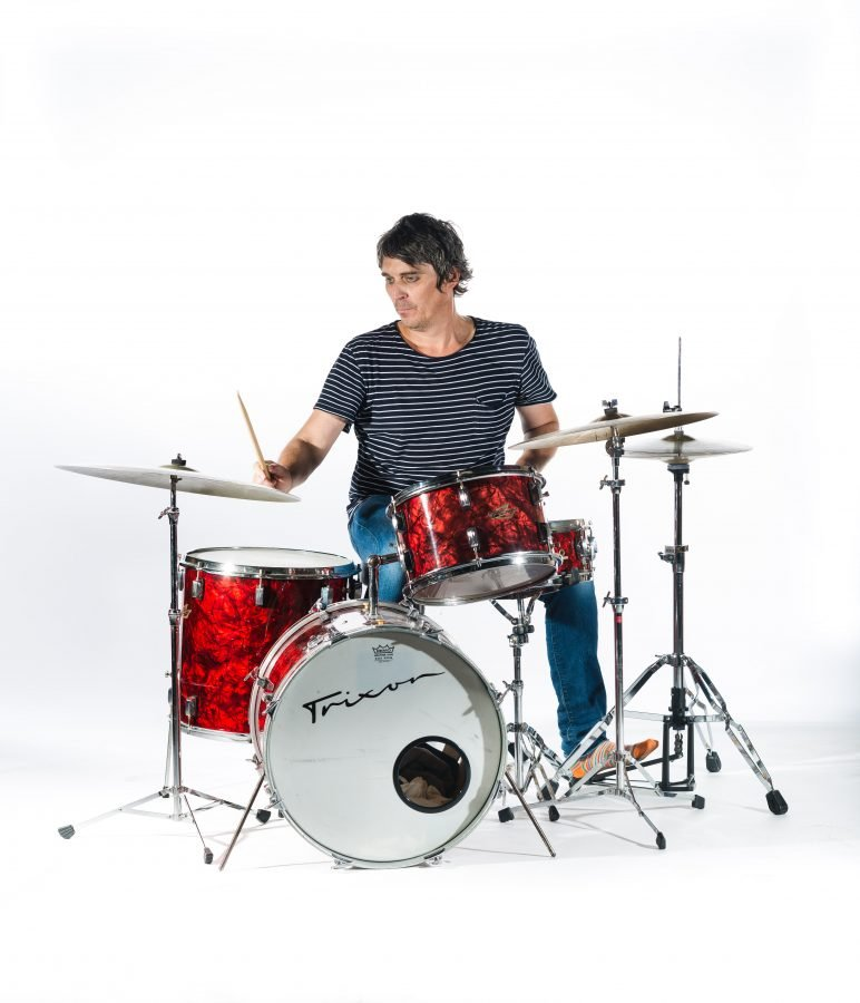 Flaming Lips drummer Steven Drozd photographed by editorial photographer James Pratt for Drum Magazine.