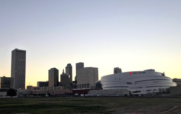 While waiting on my appointment I grabbed this shot of the Tulsa BoK Center at sunrise.