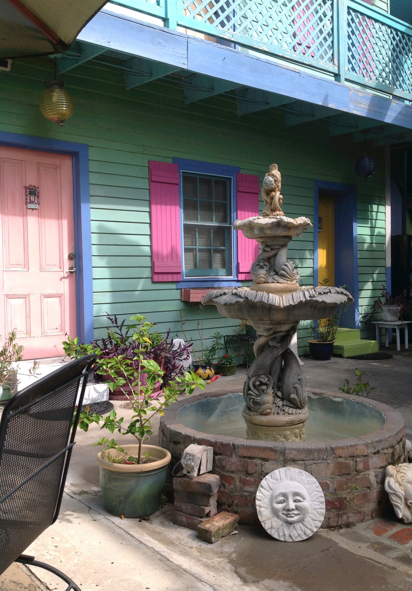 Looking for Walker Percy: The courtyard of Creole Gardens, a bed and breakfast in New Orleans.