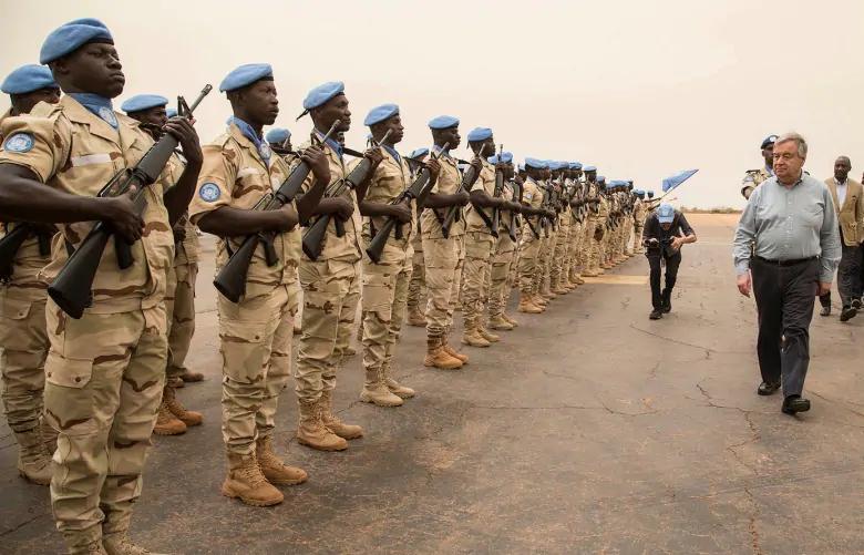 UN Secretary General Antonio Guterres reviews the honour guard