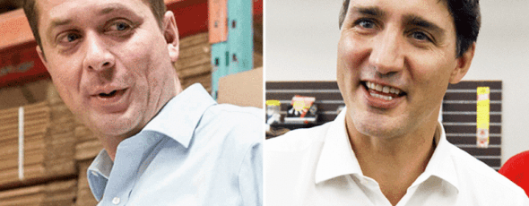 Andrew Scheer and Justin Trudeau National Post   James Alexander Michie