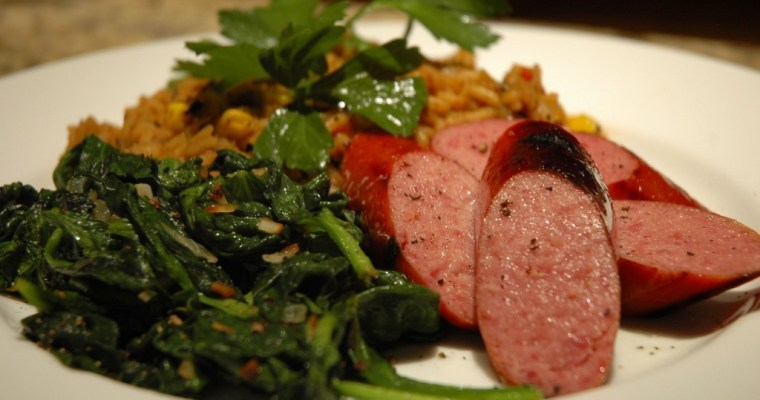 Grilled Sausage and Dirty Rice