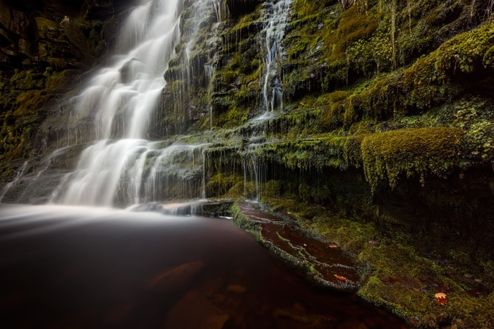 Middle Black Clough waterfall in the Peak District UK