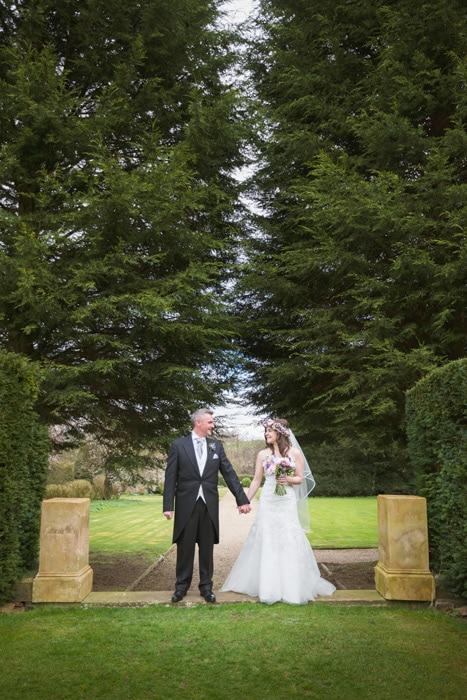 Bride & groom portrait at Stoke Rochford Hall