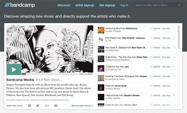 Bandcamp front page (click to go to site)