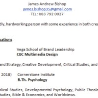 Curriculum Vitae (CV), James Bishop.