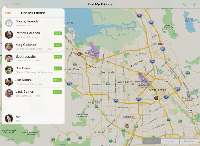 Find my Friends iOS App ten years on from The Whereabouts Clock
