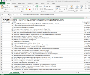 Spreadsheet containing all the SharePoint Conference 2013 sessions