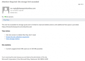 Storage Quota Exceeded. Credit: Three Will https://www.threewill.com/2013/12/storage-quotas-in-sharepoint-online/