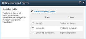 Define managed paths in Central Administration