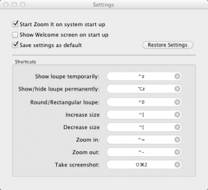 Zoom It Settings