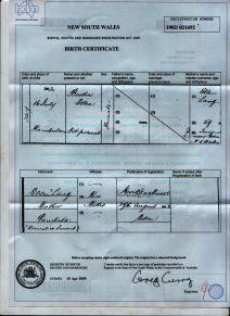 Bertha Ellen Lang Dunn Birth Certificate