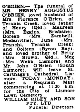 Funeral notice for Henry Augustus