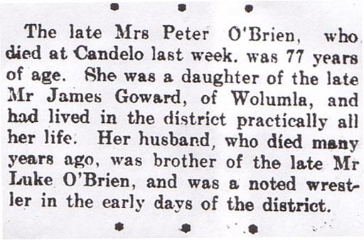Mary Ann Goward Death Notice