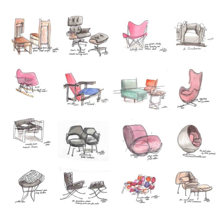 Chair fabric pattern pillow copy