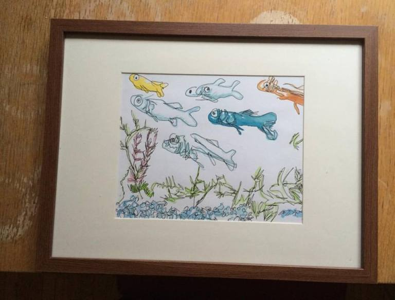 fish water color frame